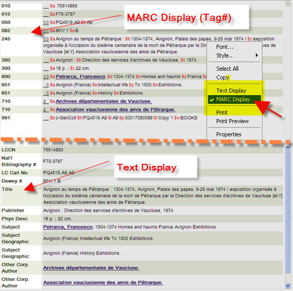 MARC display and text display views